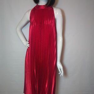 Forever 21 Red Pleated Halter Dress